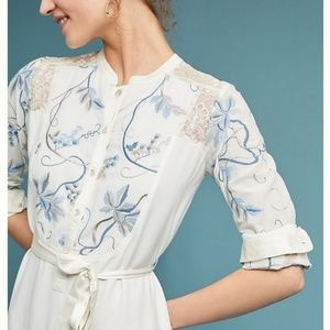Anthropologie Tiny Amarante Embroidered dress S